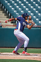 Reading Fightin Phils first baseman Art Charles (36) at bat during a game against the Bowie Baysox on July 22, 2015 at Prince George's Stadium in Bowie, Maryland.  Bowie defeated Reading 6-4.  (Mike Janes/Four Seam Images)