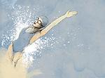 Illustrative image of woman swimming backwards