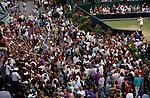 Tennis at Wimbledon London SW19 Steffi Graf signs autographs for fans 1980s UK