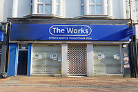Pictured: The closed down The Works shop in Neath city centre, Wales, UK. Friday 27 March 2020<br /> Re: Covid-19 Coronavirus pandemic, UK.