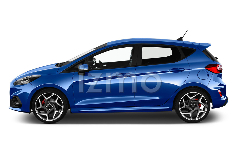 Car driver side profile view of a 2018 Ford fiesta st Ultimate 5 Door Hatchback