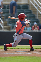 Cole Freeman (8) of the Hagerstown Suns follows through on his swing against the Kannapolis Intimidators at Kannapolis Intimidators Stadium on May 6, 2018 in Kannapolis, North Carolina. The Intimidators defeated the Suns 4-3. (Brian Westerholt/Four Seam Images)
