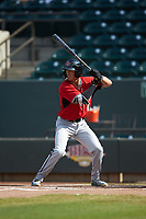 Ryan Aguilar (11) of the Carolina Mudcats at bat against the Winston-Salem Dash at BB&T Ballpark on June 1, 2019 in Winston-Salem, North Carolina. The Mudcats defeated the Dash 6-3 in game one of a double header. (Brian Westerholt/Four Seam Images)