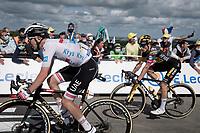 Tadej Pogačar (SVN/UAE-Emirates) & Primoz Roglic (SVN/Jumbo-Visma) sprinting for spots 2 & 3<br /> <br /> Stage 2 from Perros-Guirec to Mûr-de-Bretagne, Guerlédan (184km)<br /> 108th Tour de France 2021 (2.UWT)<br /> <br /> ©kramon