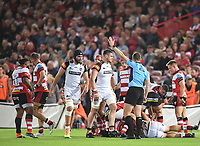 24th September 2021;  Kingsholm Stadium, Gloucester, England; Gallaher Premiership Rugby, Gloucester Rugby versus Leicester Tigers: Gloucester win a last minute penalty from Referee Tom Foley