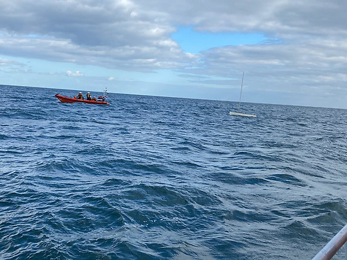 As the RNLI were carrying out the rescue they learned of a second GP14 having capsized approximately half a mile away