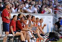 Pia Sundhage (standing)...USWNT tied Sweden 1-1 at Morrison Stadium, Omaha Nebraska.