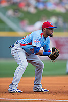 Tennessee Smokies third baseman Ryan Dent (30) on defense against the Birmingham Barons at Regions Field on May 3, 2015 in Birmingham, Alabama.  The Smokies defeated the Barons 3-0.  (Brian Westerholt/Four Seam Images)