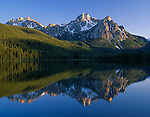 Sawtooth National Recreation Area, Idaho<br /> Mt. McGown in evening light with reflections on Stanley Lake