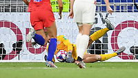 DECINES-CHARPIEU, FRANCE - JULY 02: Alyssa Naeher #1 saves the PK during a 2019 FIFA Women's World Cup France Semi-Final match between England and the United States at Groupama Stadium on July 02, 2019 in Decines-Charpieu, France.