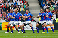 Samoa replacement Jack Lam performs the Manu Siva Tau - Mandatory byline: Rogan Thomson - 03/10/2015 - RUGBY UNION - Stadium:mk - Milton Keynes, England - Samoa v Japan - Rugby World Cup 2015 Pool B.