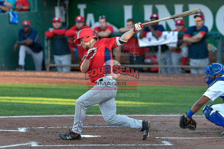 John Schuknecht (25) of the Orem Owlz follows through on his swing against the Ogden Raptors during the Pioneer League game at Lindquist Field on September 9, 2016 in Ogden, Utah. This was Game 1 of the Southern Division playoff. Orem defeated Ogden 6-5. (Stephen Smith/Four Seam Images)