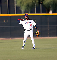 Jo Adell plays for the USA Baseball Premier 12 Team in a game against Central Arizona College at the Kansas City Royals complex on October 27, 2019 in Surprise, Arizona (Bill Mitchell)