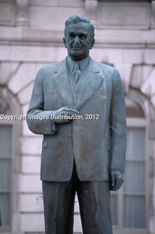 -File Photo - Quebec (Qc) CANADA - Former Quebec Premier  Maurice Duplessis statue near the Quebec National Assembly
