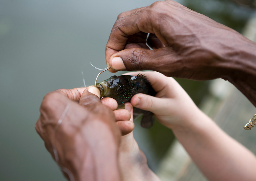 MAE GAMMINO/SPECIAL TO TREASURE COAST NEWSPAPERS<br /> <br /> The skill of a seasoned fisherman at LaPorte Farms, helps a young girl place a hook.