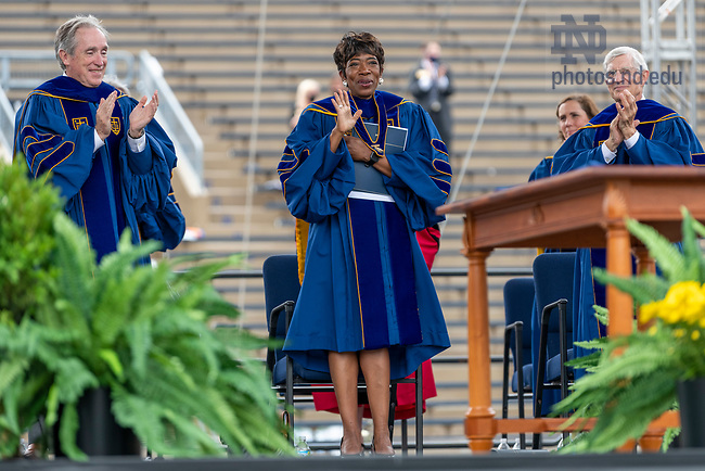 May 23, 2021; Laetare Medal winner Carla Harris acknowledges the crowd after her address during the 176th Commencement Ceremony at Notre Dame Stadium. (Photo by Barbara Johnston/University of Notre Dame)