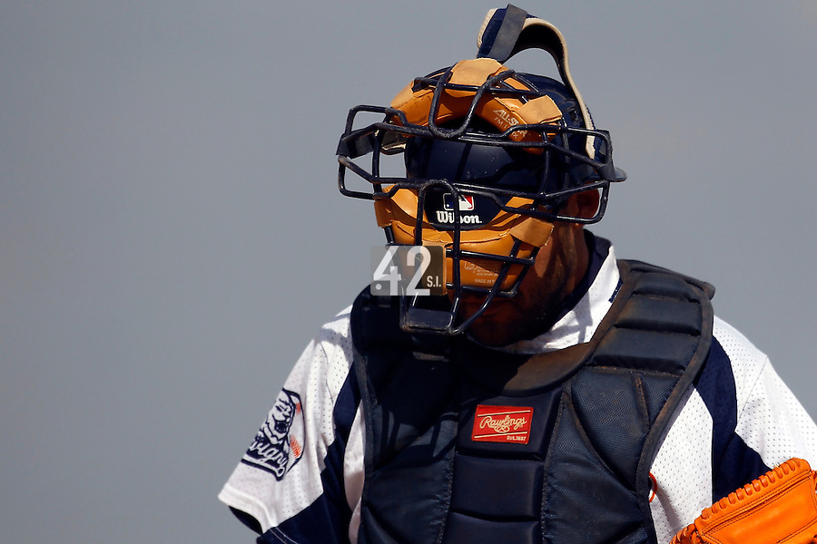 14 July 2011: Catcher Vincent Ferreira of the Savigny Lions is seen during the 2011 Challenge de France match won 7-2 by the Savigny Lions over the PUC, in Les Andelys, near Rouen, France.