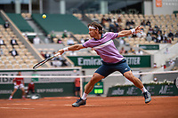 5th June 2021; Roland Garros, Paris France; French Open tennis championships day 7;   Ricardas BERANKIS of Lituania returns a ball against Novak DJOKOVIC of Serbia during the mens single on the third round