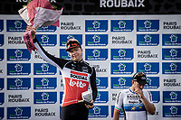 2nd place finisher Florian Vermeersch (BEL/Lotto Soudal) <br /> <br /> 118th Paris-Roubaix 2021 (1.UWT)<br /> One day race from Compiègne to Roubaix (FRA) (257.7km)<br /> <br /> ©kramon