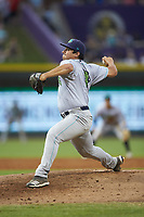 Lynchburg Hillcats relief pitcher Aaron Pinto (4) in action against the Winston-Salem Dash at BB&T Ballpark on August 1, 2019 in Winston-Salem, North Carolina. The Dash defeated the Hillcats 9-7. (Brian Westerholt/Four Seam Images)