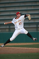 Brad Wegman (27) of the Southern California Trojans pitches during a game against the Oakland Grizzlies at Dedeaux Field on February 21, 2015 in Los Angeles, California. Southern California defeated Oakland, 11-1. (Larry Goren/Four Seam Images)