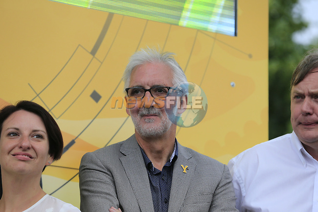 UCI President Brian Cookson on the podium for the prize giving at the end of Stage 2 of the 2014 Tour de France running 200km from York to Sheffield. 6th July 2014.<br /> Picture: Eoin Clarke www.newsfile.ie