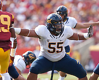 September 22, 2012: California's Viliami Moala guards his line during a game against USC at the Los Angeles Memorial Coliseum, Los Angeles, Ca  USC defeated California 27- 9