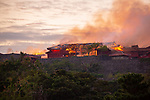 Flames at Shurijo Castle in Naha on the morning of October 31, 2019 in Okinawa, Japan. A fire broke out at the World Heritage listed site during the early hours of the morning. (Photo by Kohayakawa Wataru/AFLO)