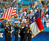 Sports action photography of the South Carolina Gamecocks v. North Carolina TarHeels in the Belk College Kickoff at Bank of America Stadium in Charlotte, N.C., on Thursday, Sept. 3, 2015. South Carolina won, 17-13.<br /> <br /> Charlotte Photographer - PatrickSchneiderPhoto.com