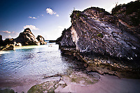 Small bay sheltered by the rocks near horseshoecrab bay in bermuda