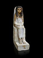 Female ancient Egyptian statue, New Kingdom, 18th Dynasty, (1480-1390 BC), Thebes Necropolis. Egyptian Museum, Turin. black background. Drovetti collection.