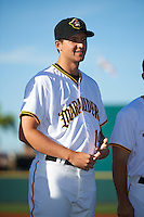 Bradenton Marauders pitcher Austin Coley (19) during introductions before a game against the Fort Myers Miracle on April 9, 2016 at McKechnie Field in Bradenton, Florida.  Fort Myers defeated Bradenton 5-1.  (Mike Janes/Four Seam Images)