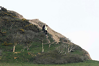 BNPS.co.uk (01202 558833)<br /> Pic: Graham Hunt/BNPS<br /> <br /> People ignoring safety advice to keep clear of the huge cliff fall at Seatown in Dorset.<br /> <br /> Visitors on the cliff top getting close to the crumbling cliff edge near to the huge landslide.