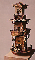 "China:  Chinese Architecture--terra cotta glazed burial article, Eastern Han. A clay tower--an ""UR"" form for the pagoda."
