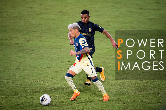 Leonardo Suarez of Club America (MEX) and Diego Palacios of Los Angeles FC (USA)  in action during their CONCACAF Champions League Semi Finals match at the Orlando's Exploria Stadium on 19 December 2020, in Florida, USA. Photo by Victor Fraile / Power Sport Images
