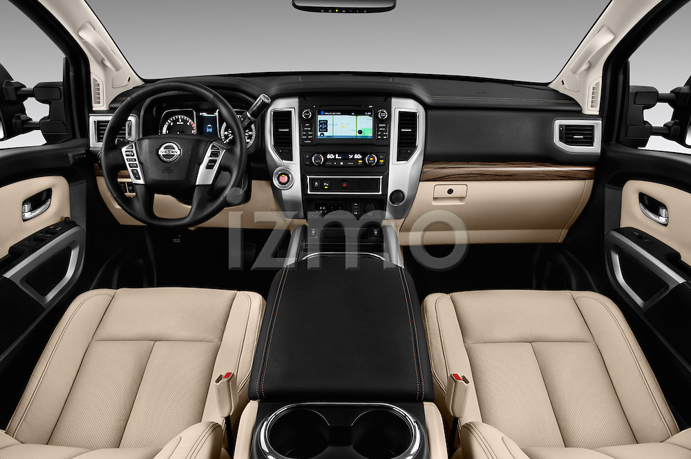 Stock photo of straight dashboard view of 2016 Nissan Titan SL 4 Door Pickup Dashboard