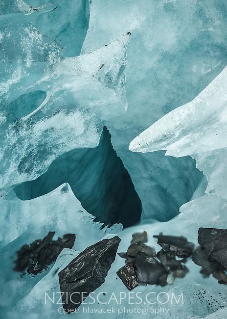 Close up of moulin on Fox Glacier, Westland National Park, West Coast, World Heritage Area, South Westland, New Zealand