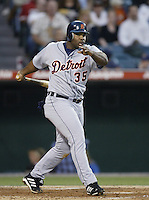 Randall Simon of the Detroit Tigers bats during a 2002 MLB season game against the Los Angeles Angels at Angel Stadium, in Anaheim, California. (Larry Goren/Four Seam Images)