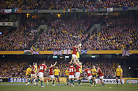 MELBOURNE, 29 JUNE 2013 - Players compete in a line out during the Second Test match between the Australian Wallables and the British and Irish Lions at Etihad Stadium on 29 June 2013 in Melbourne, Australia. (Photo Sydney Low / sydlow.com)