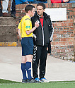 Stenny manager Scott Booth is spoken to by Referee Colin Steven.