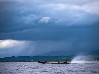 Monsoon rains and Life on Inle lake, Myanmar, Burma