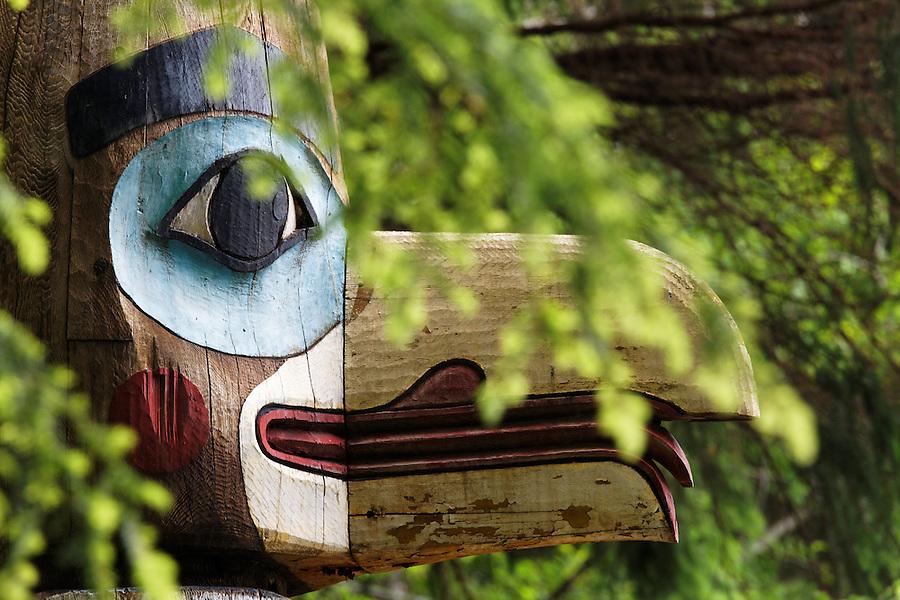 Replica of Raven at the Head of Nass totem pole, Totem Bight State Historical Park, Ketchikan, Alaska