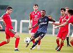 11.01.2020 Rangers v Lokomotiv Tashkent, Sevens Stadium, Dubai:<br /> Jermain Defoe takes on the Tashkent defence