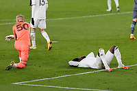 ST PAUL, MN - NOVEMBER 22: William Yarbrough #50 of Colorado Rapids react to Kevin Molino #7 of Minnesota United FC goal during a game between Colorado Rapids and Minnesota United FC at Allianz Field on November 22, 2020 in St Paul, Minnesota.