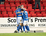 St Johnstone v Hearts…30.10.19   McDiarmid Park   SPFL<br />David Wotherspoon and Jason Kerr celebrate saints goal with Wallace Duffy and Drey Wright<br />Picture by Graeme Hart.<br />Copyright Perthshire Picture Agency<br />Tel: 01738 623350  Mobile: 07990 594431