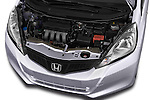 Car Stock 2014 Honda Jazz s 5 Door Hatchback 2WD Engine high angle detail view