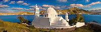 The Byzantine church of Agia Irene on the harbour of Ormos, Ios, Cyclades Islands, Greece