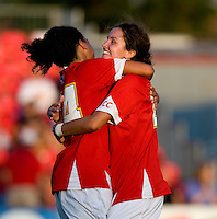 Maryland midfielder (44) Skyy Anderson celebrates with teammates (23) Megan Watson Maryland defeated Santa Clara, 1-0, at Ludwig Field in College Park Maryland.