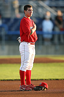 August 31, 2009:  First Baseman Alan Ahmady of the Batavia Muckdogs stands during the National Anthem before a game at Dwyer Stadium in Batavia, NY.  The Muckdogs are the Short-Season Class-A affiliate of the St. Louis Cardinals.  Photo By Mike Janes/Four Seam Images