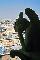 A Gargoyle sitting on the roof of Notre Dame Cathedral. Grotesque figure in Gothic architecture.